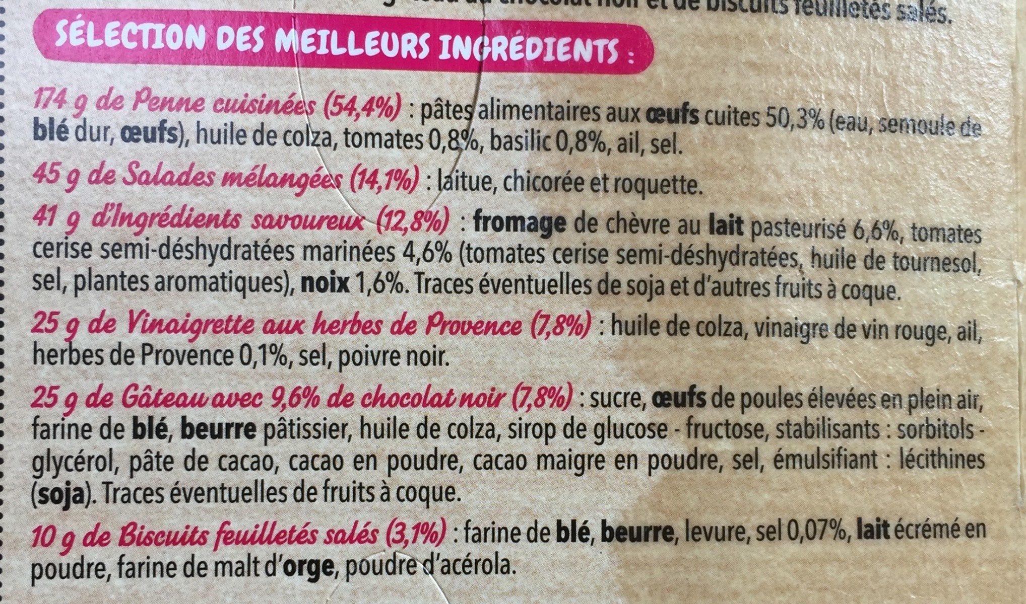 Coffret salade penne chèvre tomates mi-séchées noix - Ingrédients - fr