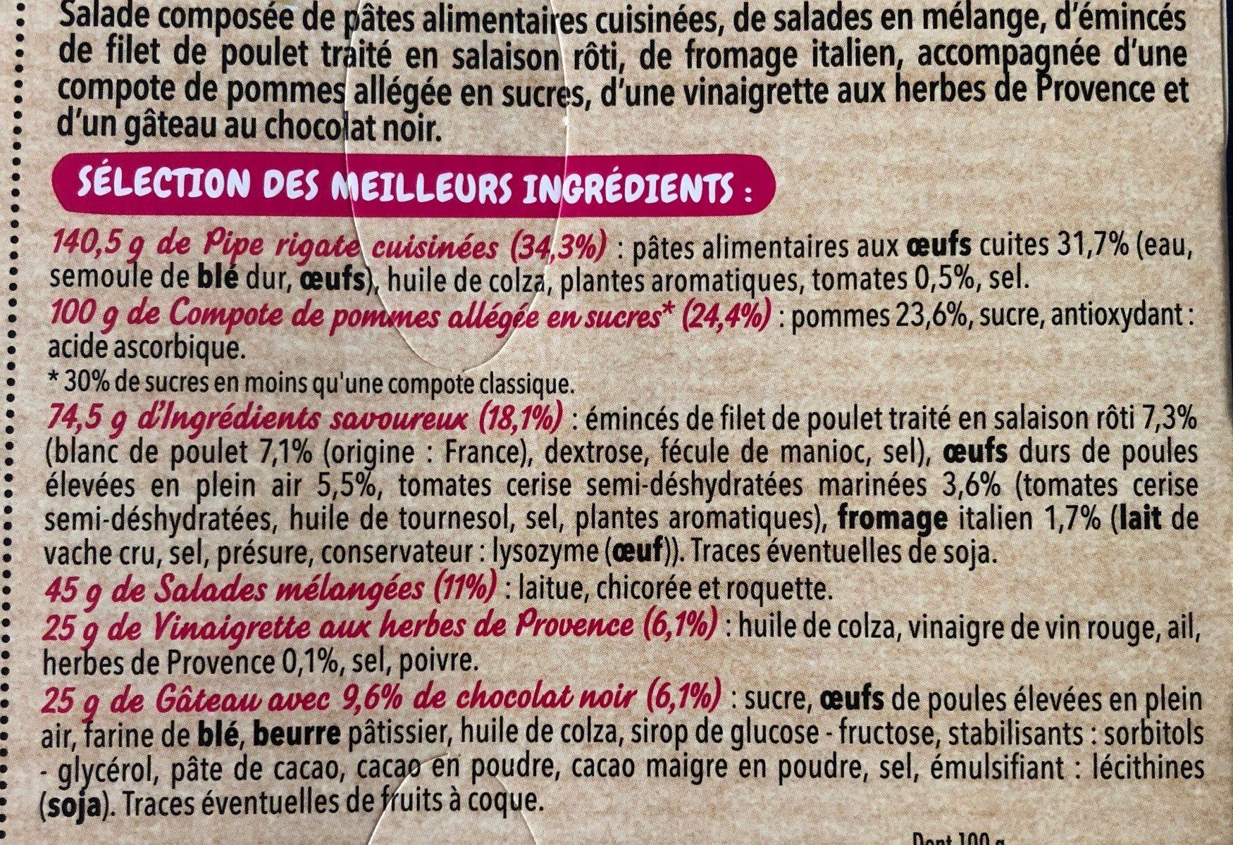 Salade et pipe rigate poulet roti - Ingrédients