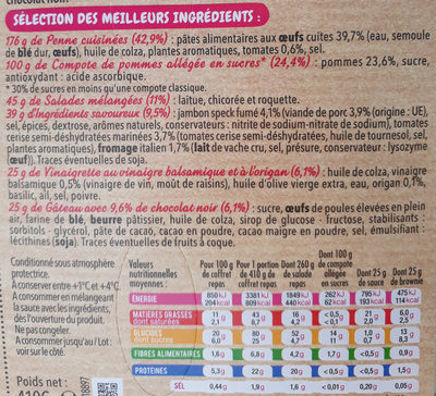 Salade extra coffret jambon speck - Nutrition facts