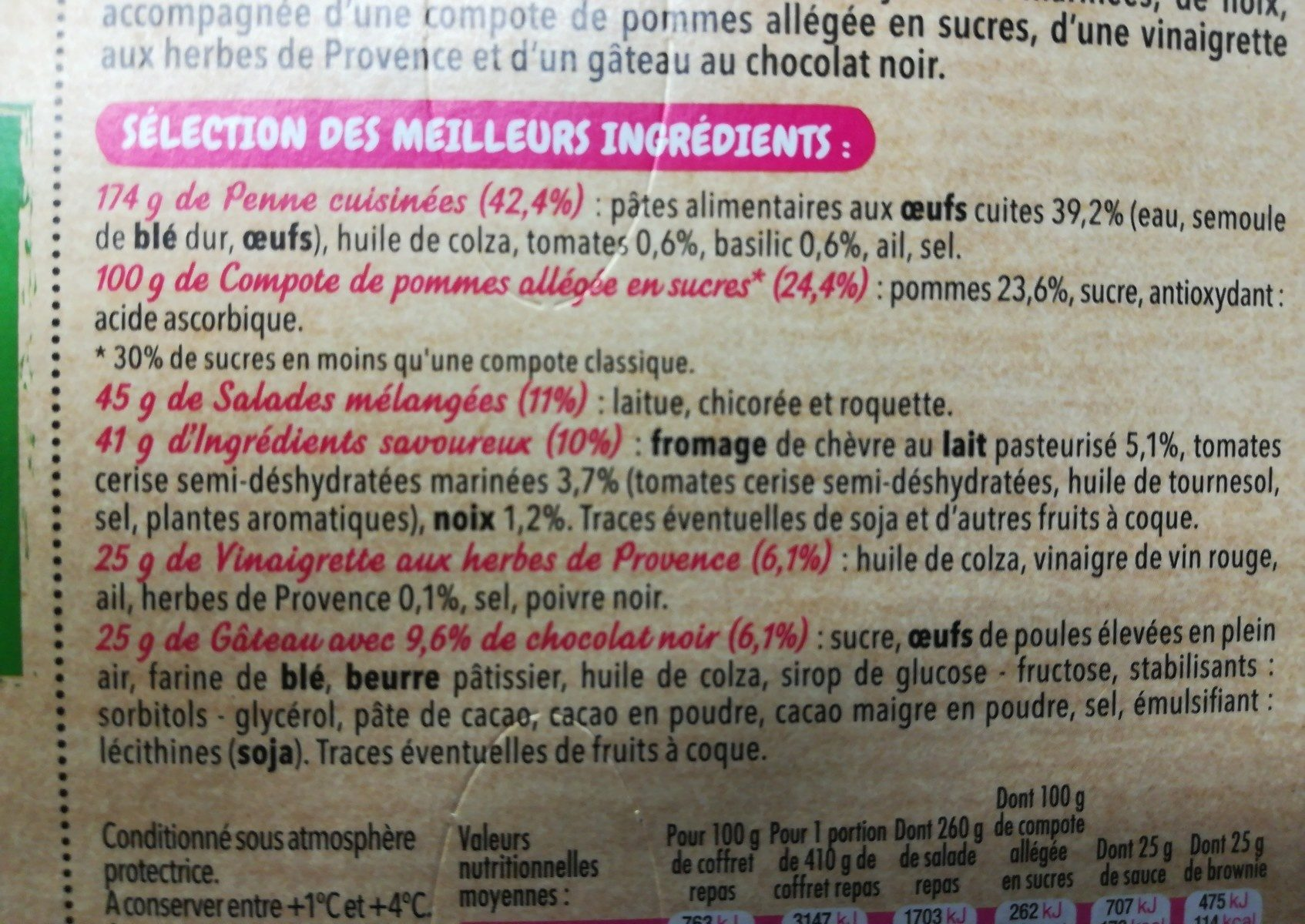 Salade extra coffret chèvre penne - Ingrediënten - fr