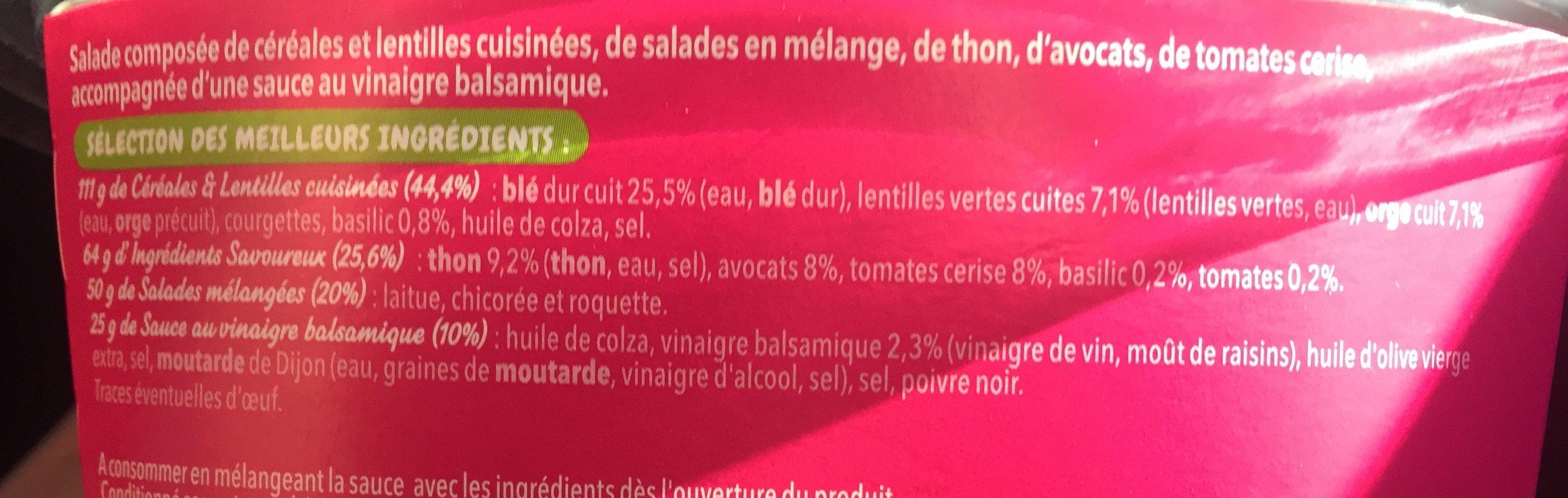 Mix - Salade et céréales Thon  Avocat - Ingrédients - fr