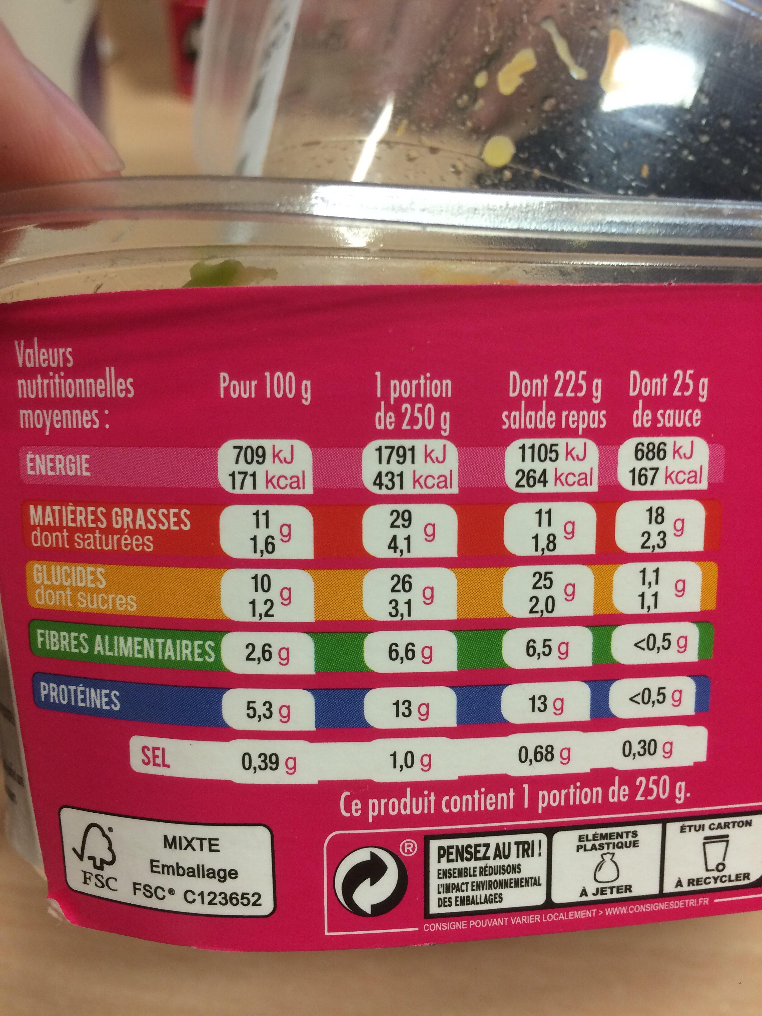 Mix - Salade et céréales Thon  Avocat - Informations nutritionnelles - fr