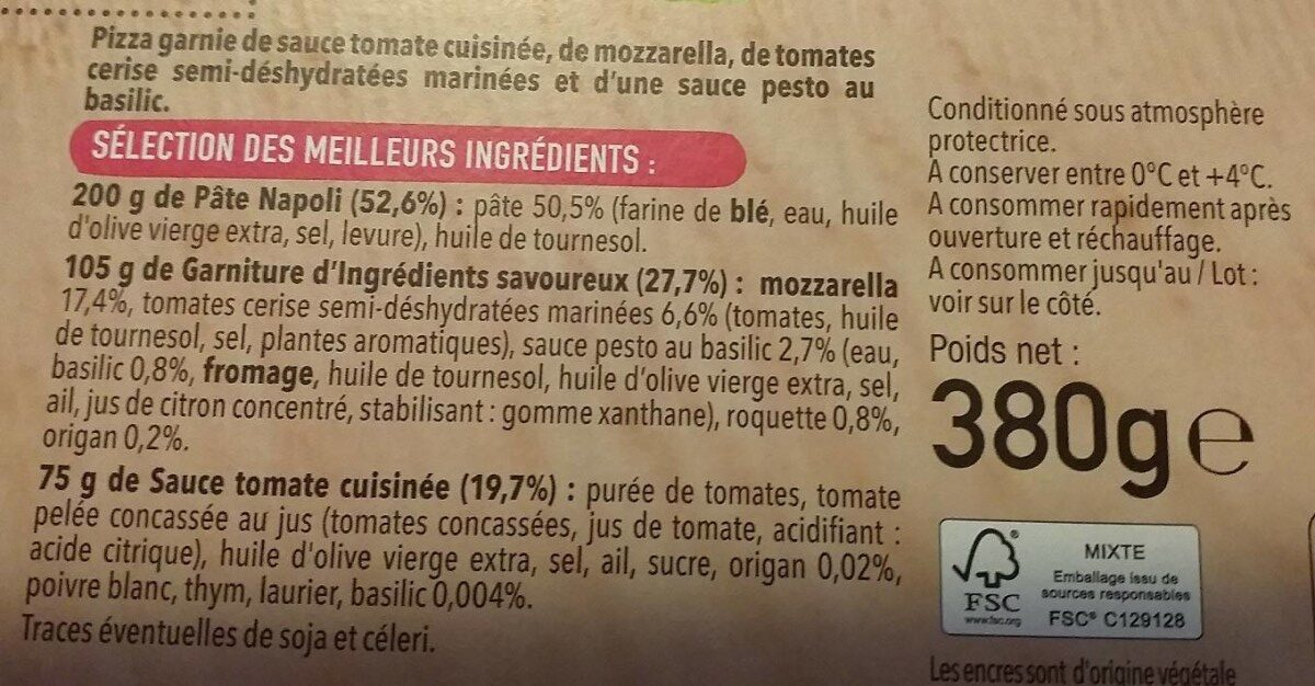Pizza del Gusto - mozzarella tomates - Ingrédients - fr