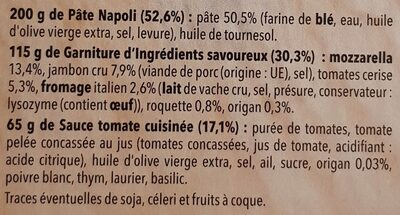 Pizza del gusto - Ingredients