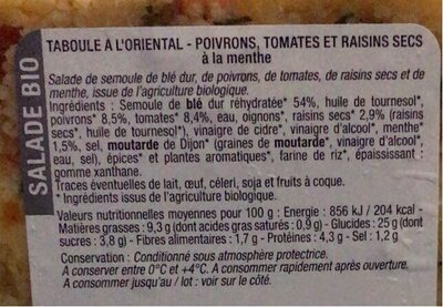 Taboulé à l'orientale - Nutrition facts - en