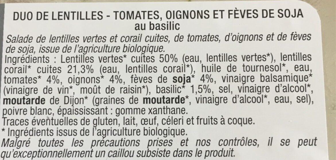 Duo de lentilles - Ingrediënten - fr