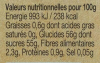 Confiture bio Ananas - Nutrition facts