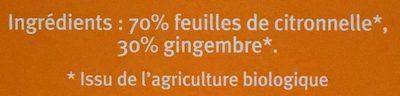 Citronnelle Gingembre - Ingrédients - fr