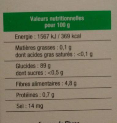 Semoule de Manioc - Informations nutritionnelles
