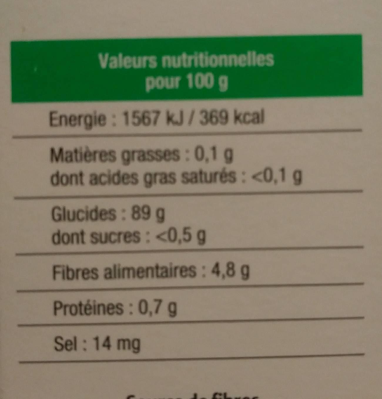 Semoule de Manioc - Informations nutritionnelles - fr