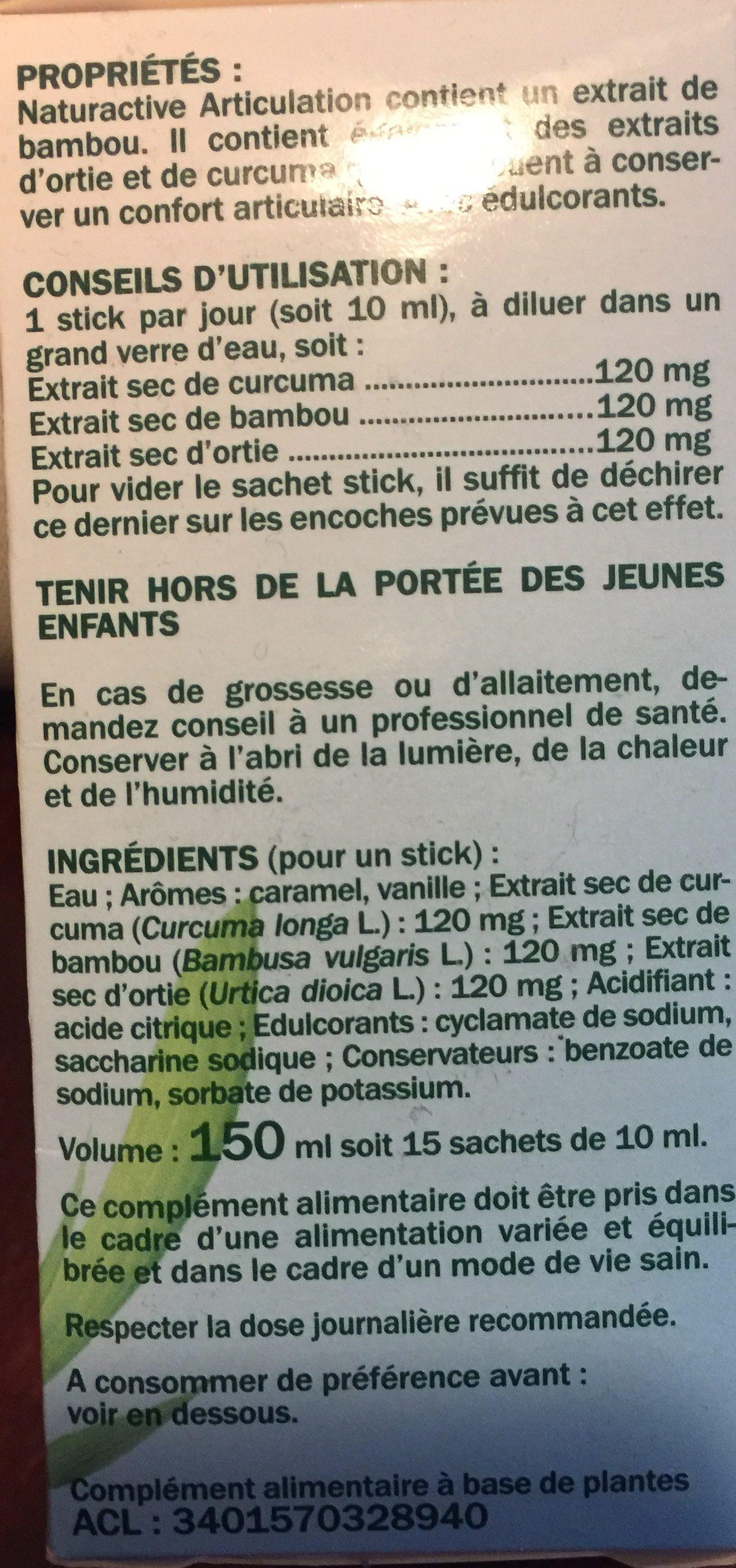 Naturactive Elusane Articulation Liquid Sachets, 15 Sachets To Dilute - Ingrédients - fr