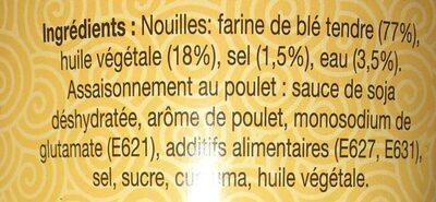 Nouilles au goût Poulet instantanées - Ingrédients - fr
