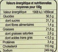 Cake a la vanille - Voedingswaarden - fr