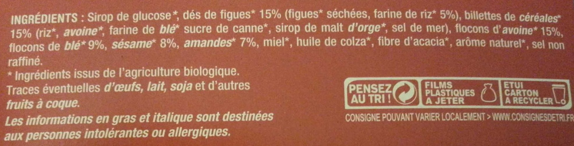 Barre céréalières - FIGUES - SESAME - AMANDES - Ingredients - fr