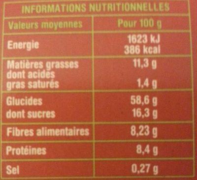 Barre céréalières - FIGUES - SESAME - AMANDES - Nutrition facts - fr