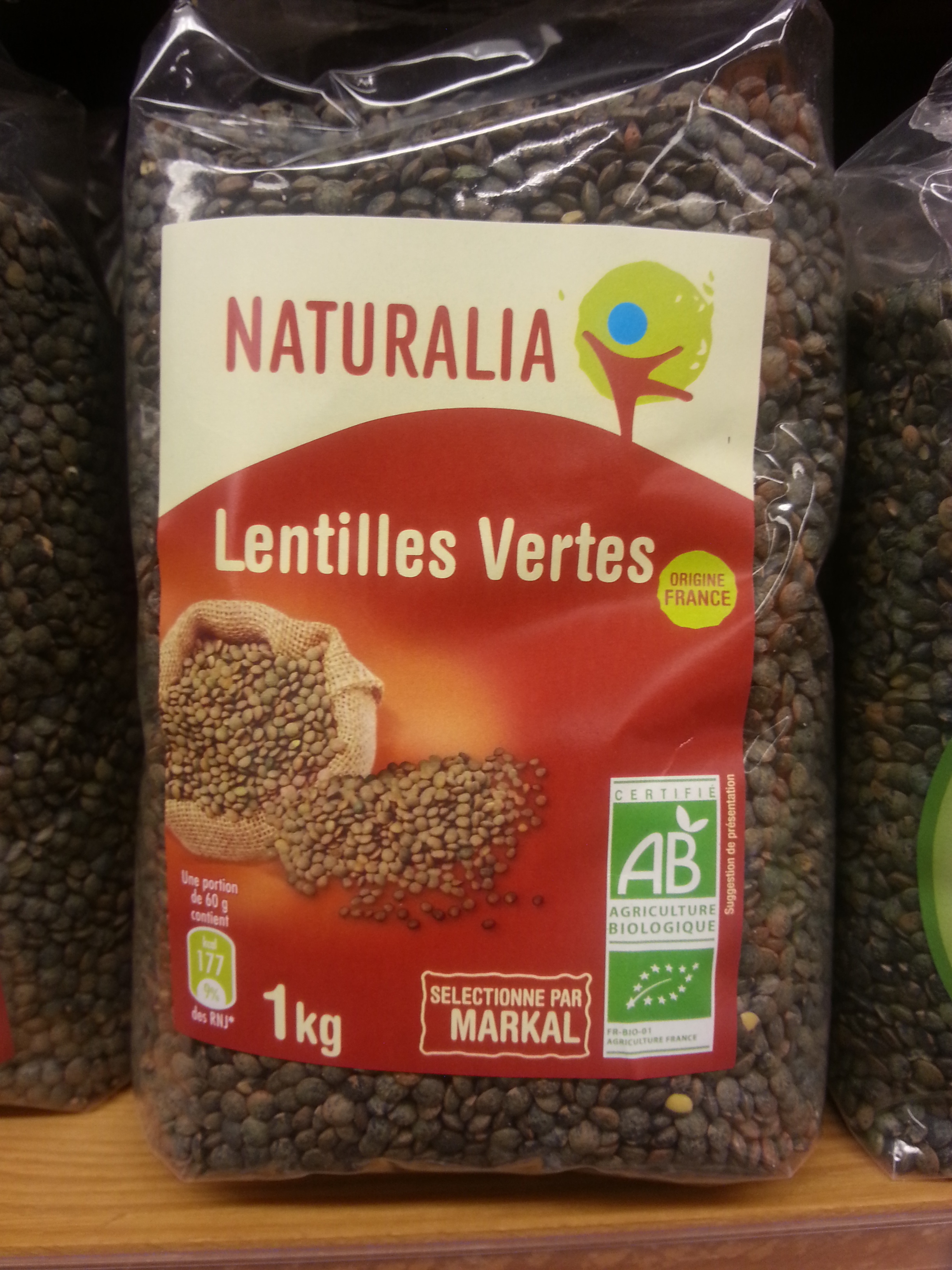 Lentilles vertes naturalia 1 kg - Cuisiner lentilles seches ...