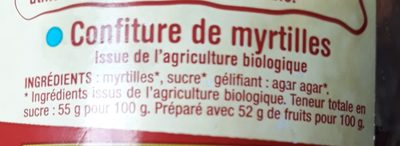 Confiture de myrtilles - Ingredients