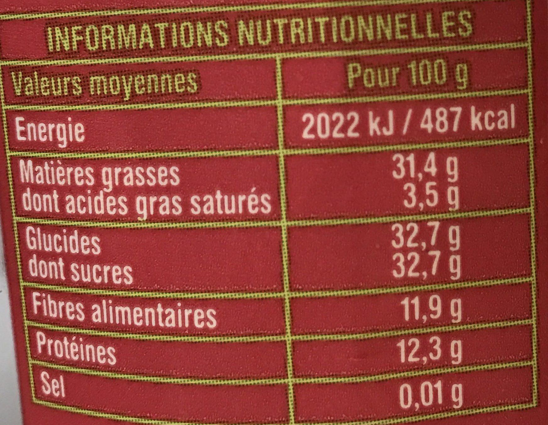 Mélange de fruits secs - Voedigswaarden