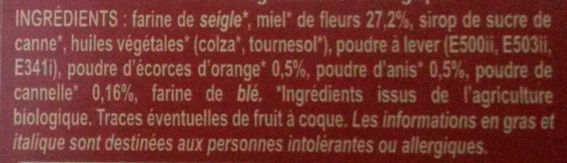 Pain d'épices à 25% de miel minimum - Ingredients