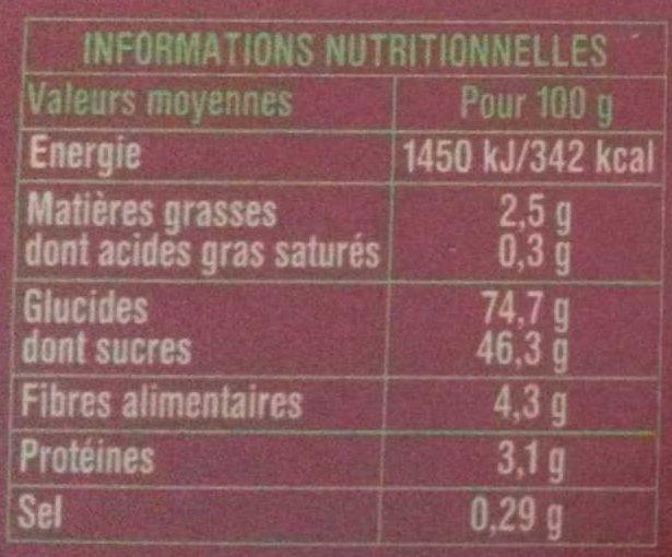 Pain d'épices à 25% de miel minimum - Nutrition facts