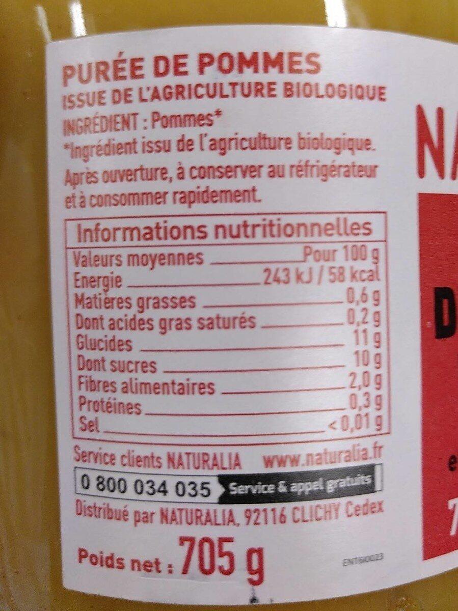 Purée de pommes - Informations nutritionnelles - fr