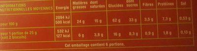 Petit beurre 48% de chocolat noir - Nutrition facts