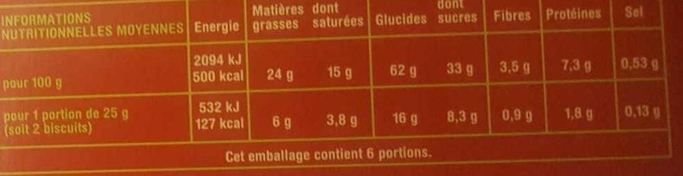 Petit beurre 48% de chocolat noir - Informations nutritionnelles - fr