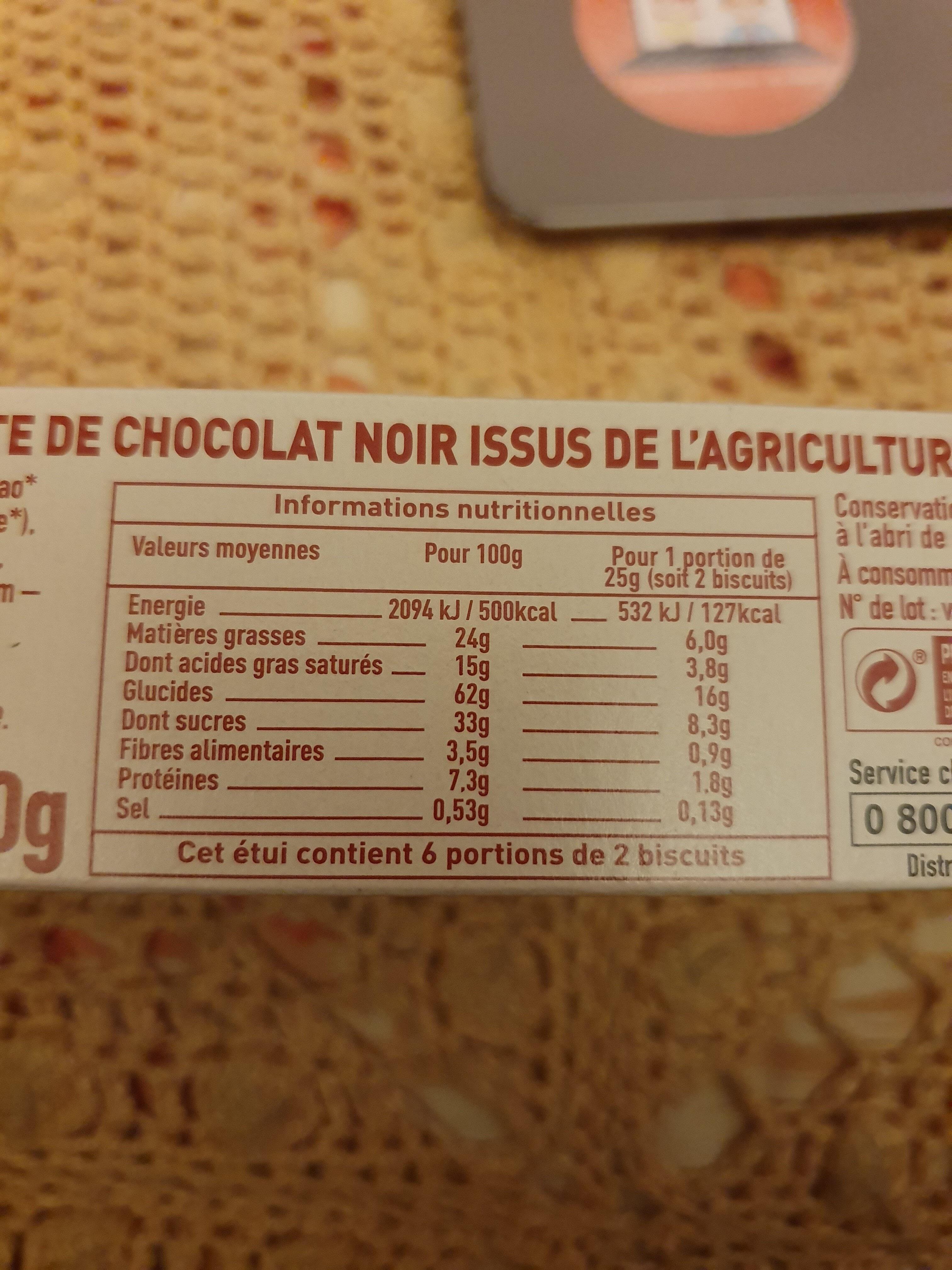 Petit beurre 48% de chocolat noir - Valori nutrizionali - fr