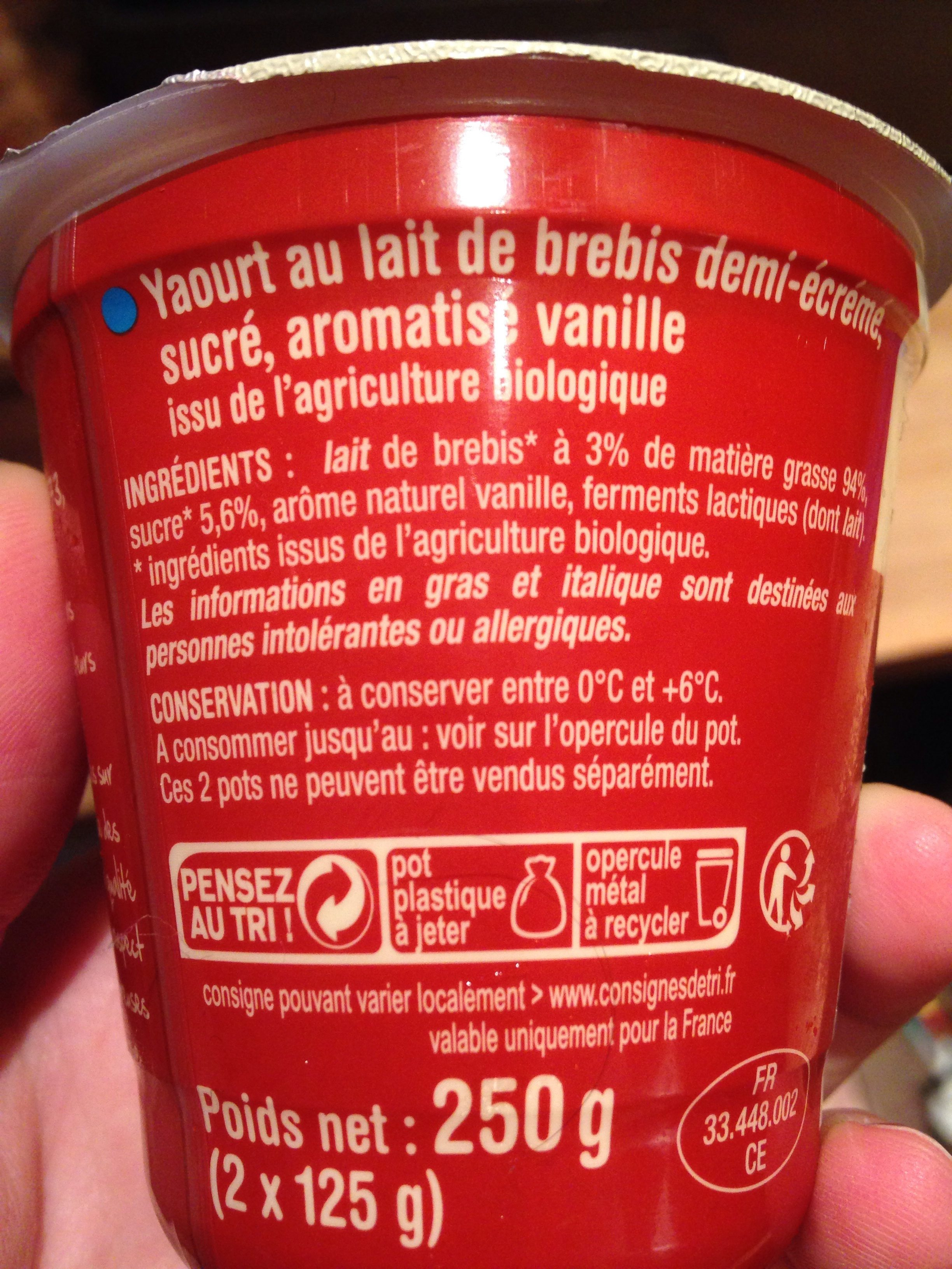 Yaourt de brebis Vanille - Ingredients