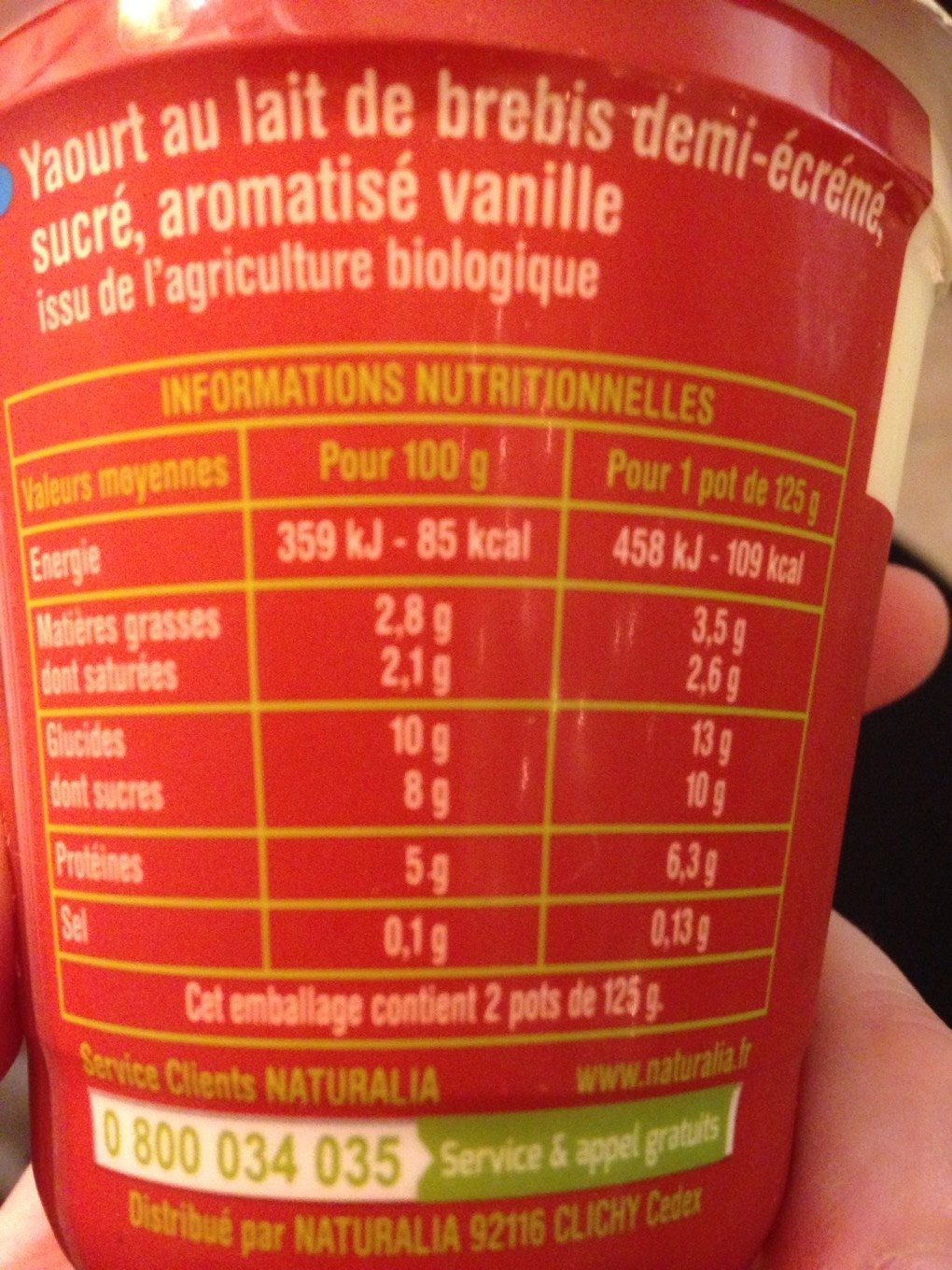 Yaourt de brebis Vanille - Nutrition facts