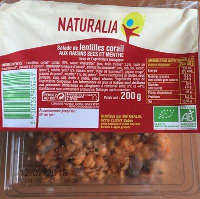 Salade Lentille Corail aux raisins secs - Producto