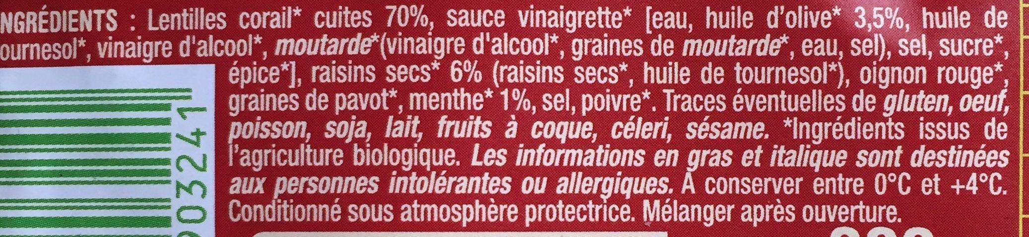 Salade Lentille Corail aux raisins secs - Ingredientes