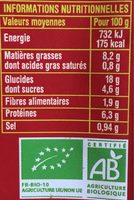 Salade Lentille Corail aux raisins secs - Información nutricional
