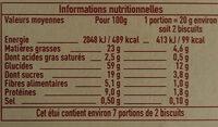 Biscuit petit épeautre sésame - Informations nutritionnelles