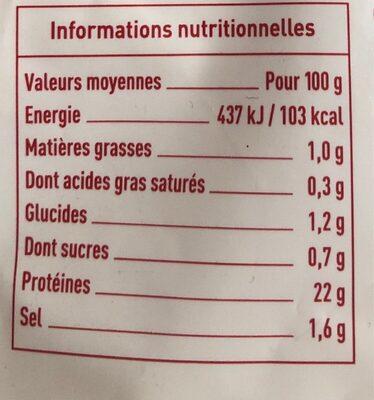 Blanc de poulet - Informations nutritionnelles