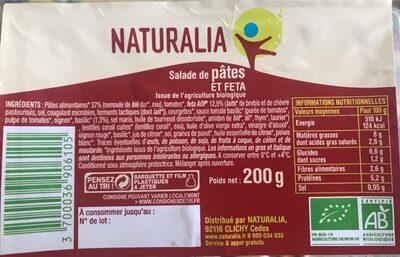 Salade de pâtes et feta - Produit - fr