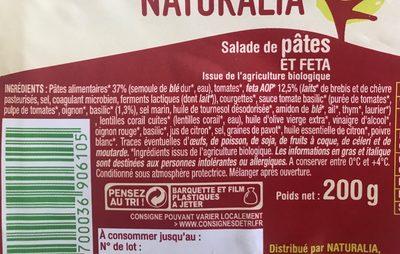 Salade de pâtes et feta - Ingrédients - fr