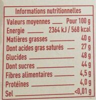 Chocolat patissier - Informations nutritionnelles - fr