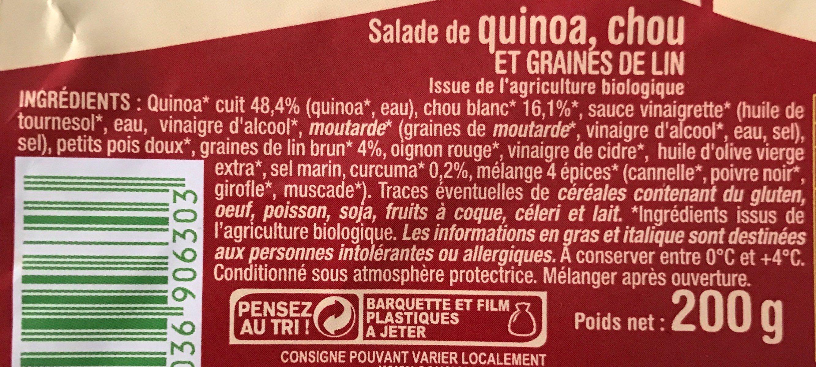 Salade de quinoa, chou et graines de lin - Ingredients