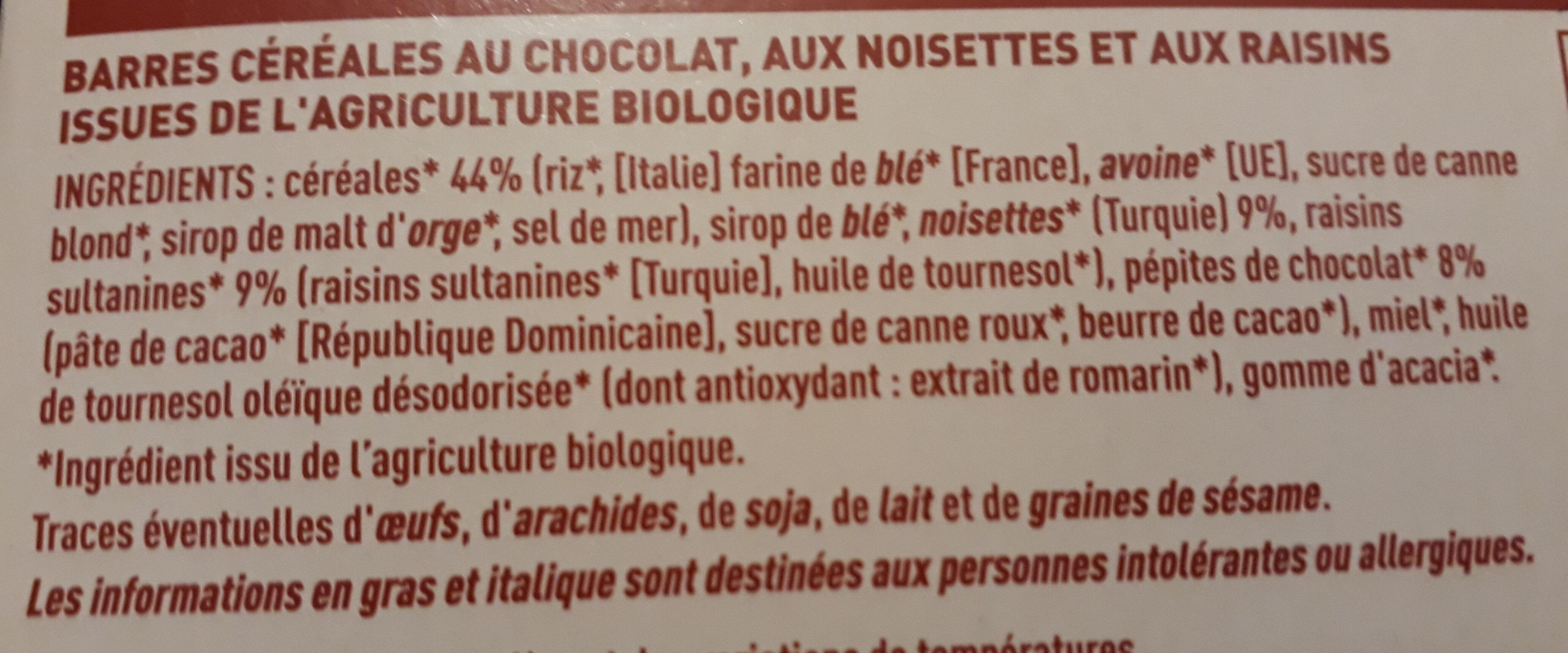 Barres céréales chocolat noisettes - Ingrediënten - fr