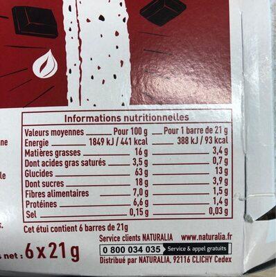 Barres céréales chocolat noisettes - Voedingswaarden - fr