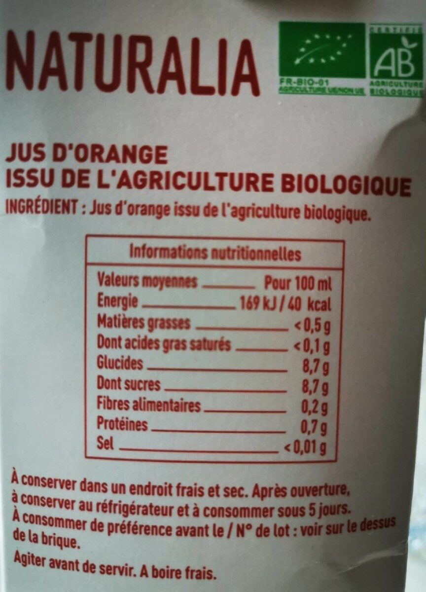 Jus d'orange - Nutrition facts