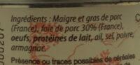 Pâte de campagne - Ingrédients - fr