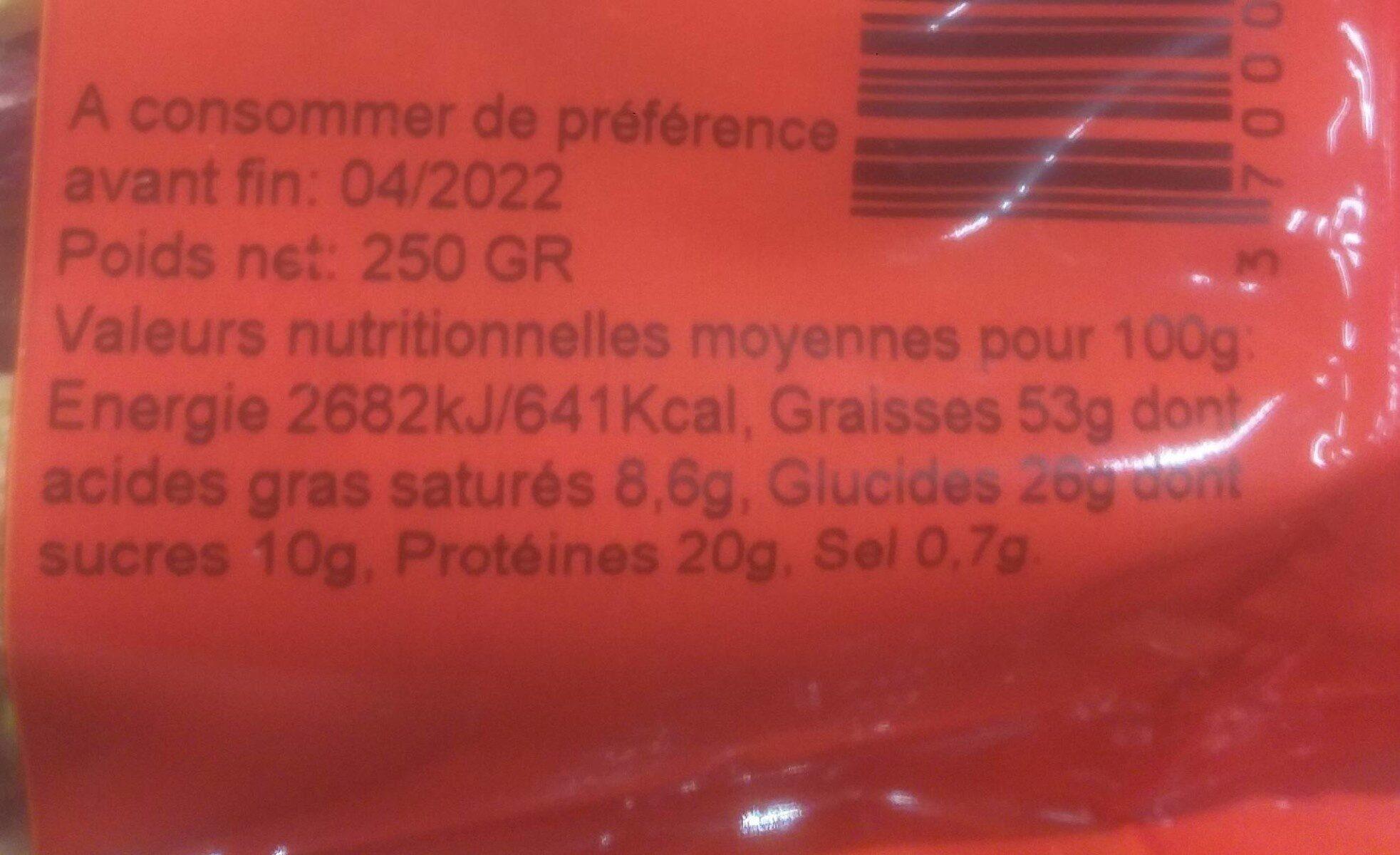 Pistaches crues (non salées) - Informations nutritionnelles - fr