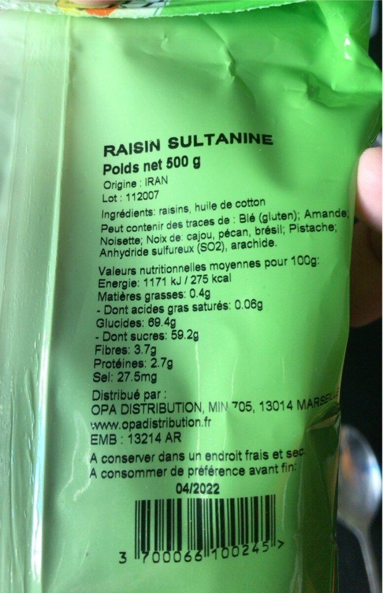 Arev Raisin Sultanine 500 GRS - Informations nutritionnelles - fr