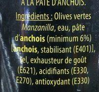 Olives Vertes Farcies à la Pâte d'Anchois - Ingrediënten - fr