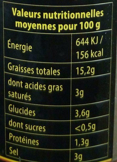 Olives Vertes Farcies à la Pâte d'Anchois - Voedingswaarden - fr