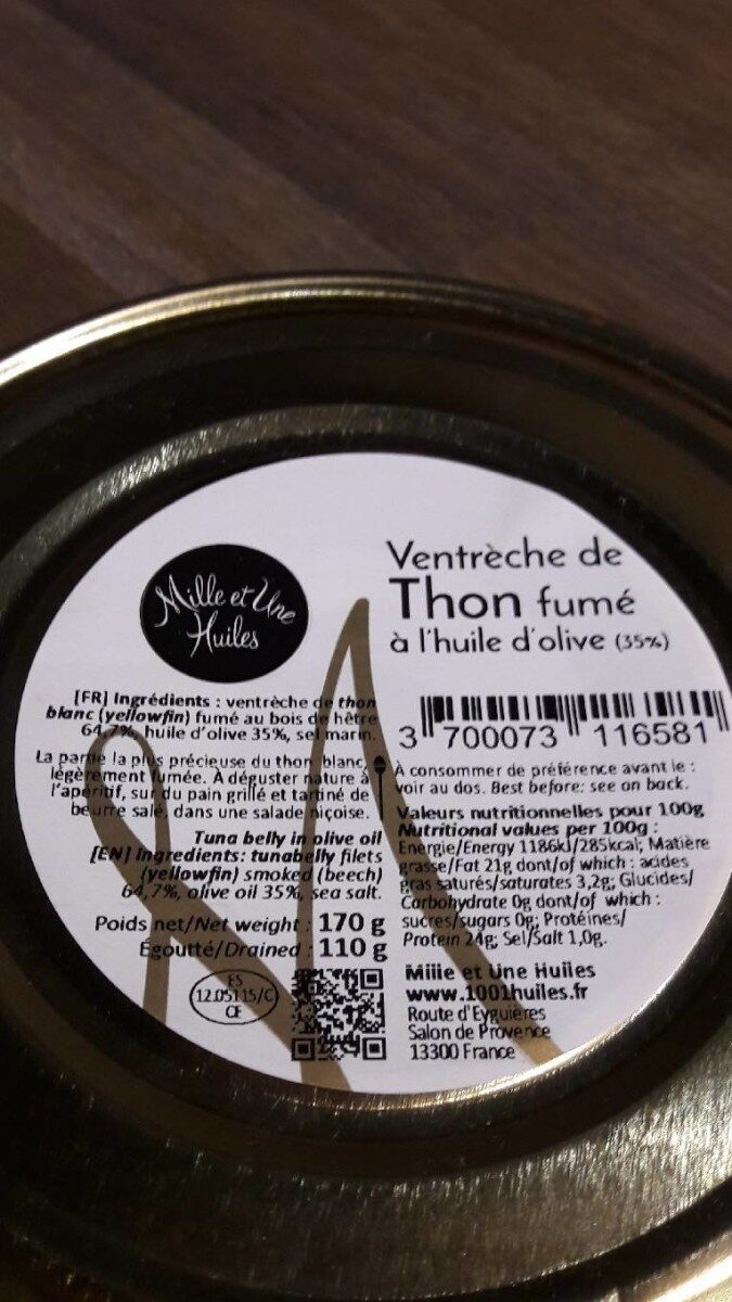 Ventreche de thon fumé à l'huile d'olive - Prodotto - fr