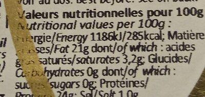 Ventreche de thon fumé à l'huile d'olive - Valori nutrizionali - fr
