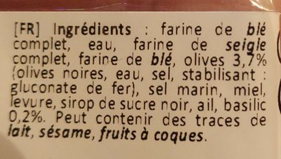 Crackers Olive & Basilic - Ingrédients - fr